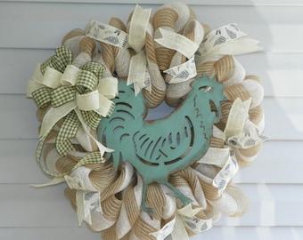 Country Chicken Deco mesh wreath