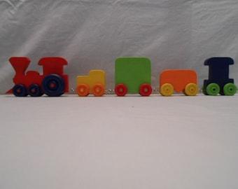 Handmade Wood Circus Train,  Poplar Wood, Child Safe Finish