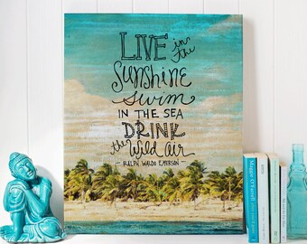 Live In The Sunshine -  Gallery Wrapped Canvas | Inspirational Home Decor | Canvas | Hand Lettered Wall Art | Print Canvas | Emerson Quote