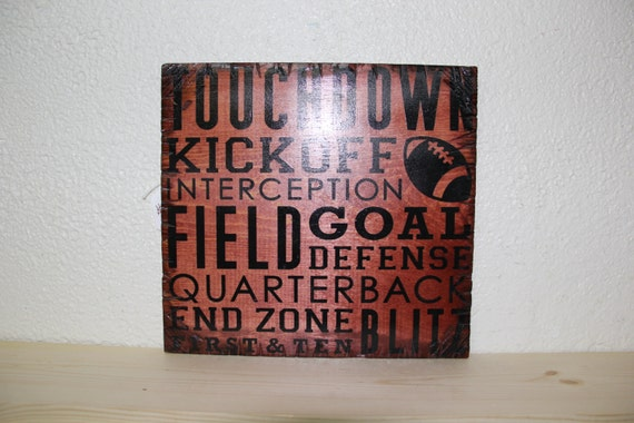 Wooden Rustic-Style Football Sign (Sedona Red)