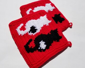 Cat Potholders in Black, White Red Married Couples, Wedding Gift, Bridal Shower Cat, Pet Owner Lover People Valentines Day MADE TO ORDER