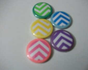 10 Chevron Hand Made Button Magnets
