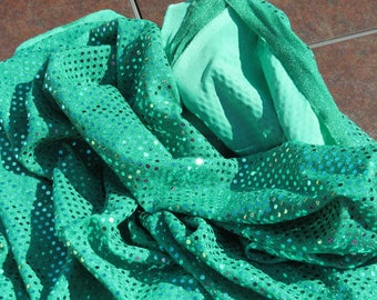 Jade green sequinned stretch fabric 1.5 yds