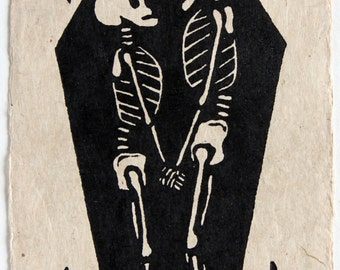 Forever Ever - a linocut on handmade Bhutanese Paper - Signed, Numbered Lino Print, Edition of 150