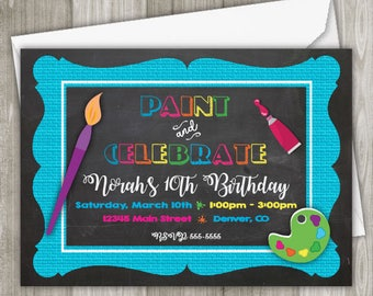 Painting Birthday Party Invitation - Printed Invitation - 5 x 7