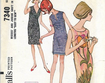 """Vintage 1964 McCall's 7340 Mod Misses & Juniors Shifts In Two Lengths Sewing Pattern Size Medium 12 M-13 J-14 M Bust 32""""-33""""-34"""""""