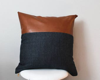 Modern Faux leather and Navy Pillow Cover