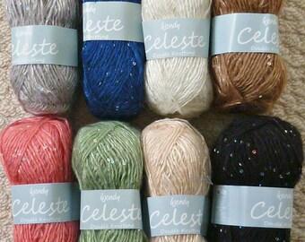 Knitting Wool/Yarn Wendy Celeste (Sequin) Mohair/Wool Blend Double Knitting (Light Worsted) Knitting Yarn/Wool