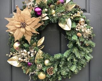 Christmas Wreaths, Door Wreaths for Christmas, Gift for Her, Evergreen Wreath, Purple Wreath, Burlap, Poinsettia Wreath, Holiday Wreaths