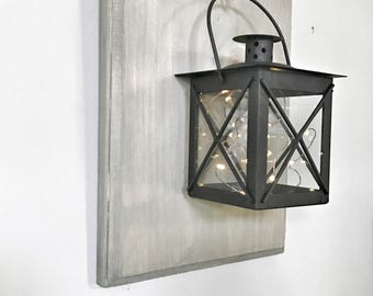 Lantern wall sconce, wall decor, wall hanging, rustic decor, farmhouse decor