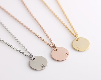 Disc Initial Necklace,Monogram Name Initial Necklace, Dainty Disc Necklace, Bridesmaid Gift, Best Gift for friend & families