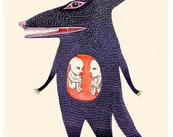 Art Illustration Print Night Creature