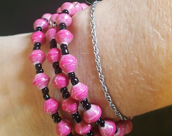 Pink Recycled Paper Bracelet on Memory Wire-3 pc set