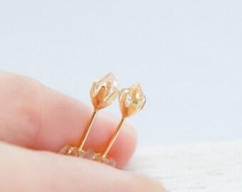 18k Herkimer Diamond Earrings, Solid Yellow Gold, Tiny Stone Studs, Small Quartz Studs