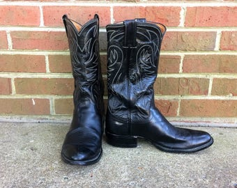 Justin Black Leather Cowboy Boots - Stovepipe - Vintage - Men 8D Women 9..5