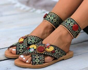 """Leather sandals, Slides, Handcrafted sandals, Greek leather sandals, Anklet, """"Fiesta"""" Anklet sandals"""
