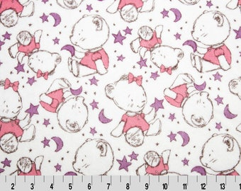 MINKY fabric white purple and pink x25cm bear printed synthetic Velvet