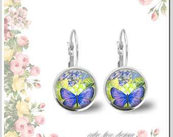 1 Pair of earrings 12 mm lilac blue butterfly