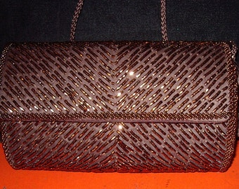 """SALE 20% off! Bronze Beaded""""Miniadiere"""" Evening Bag Perfect New Condition # 92 Purses"""