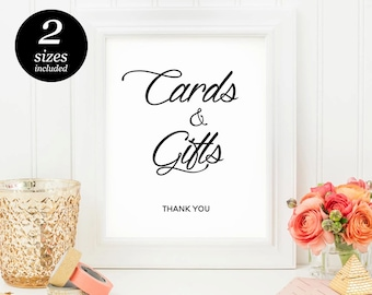Cards And Gifts Printable Sign, wedding printable sign, wedding reception sign, wedding calligraphy, cheap wedding printable, DIY wedding