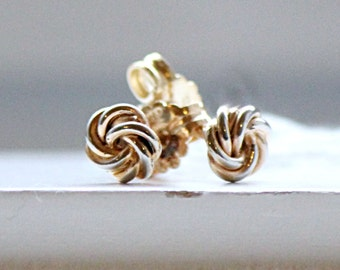 Solid White and Yellow Gold 19.2K Earrings From Portugal STUD