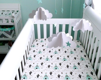 Teepee & Cactus mint, white fitted cotton crib sheet (#0126)