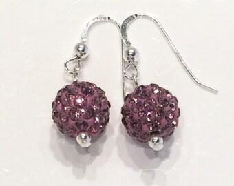 Mauve Pave' crystal earrings, crystal ball earrings, dusty pink crystal earrings, sterling silver crystal earrings, rhinestone crystal balls