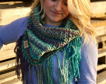 Green Cowl with Fringes