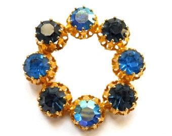 Vintage Sapphire Brooch Blue Circle Pin Austrian Faux Indicolite 1940s
