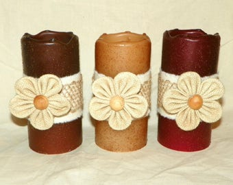 Pillar Candle Flameless 6 Inch Primitive Textured LED TIMER PILLAR Candles, Battery Operated, Perfect Nightlight
