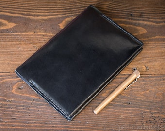 Clairefontaine Classic Hardcover (A5) notebook and cover (fountain pen friendly paper) - black harness leather