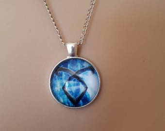 Mortal instruments shaddowhunter sword necklace pendant blue clarey jace