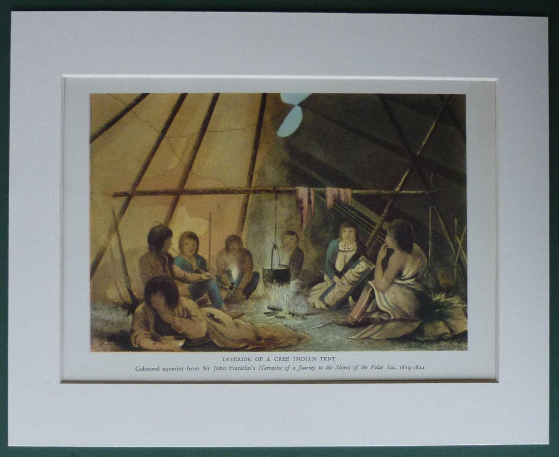 ?zoom & Vintage Print of Cree Native American Indians Vintage tipi