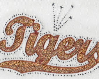 CLOSEOUT SALE Tigers (Orange) Sequins and Rhinestone Transfer Applique ONLY