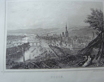 Engraving. Rouen. Normandy. France. General view. Published by while in Paris (France). Engraving of the 19th century. (1819-1859)
