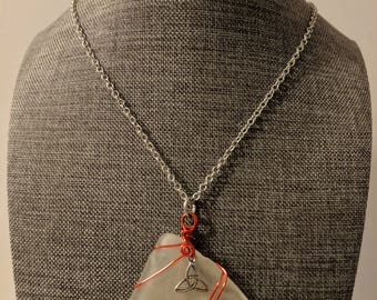 Large sea glass pendant with red wire