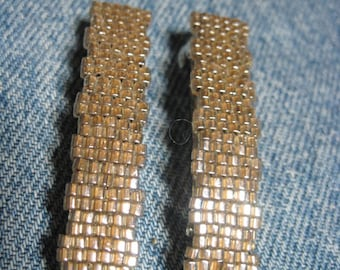 Crystal Bronze Toho 1.5 mm CUBE Beaded Solid Barrettes....set of 2 Small Size....hand made OOAK Original Design #1653h