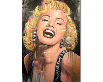 Marilyn Monroe Original Portrait Painting Hollywood icon Art by Amy Giacomelli, You can WATCH a vid of me doing this painting