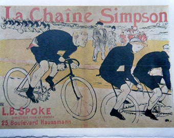 Vintage Bicycle Poster La Chaine Simpson French Poster Size Book Plate