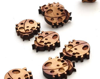 Spring Ladybug Mini Beads - Itsies and Charms - With or Without Holes - Laser Cut Cedar Wood -  Timber Green Woods Sustainable Wood Products