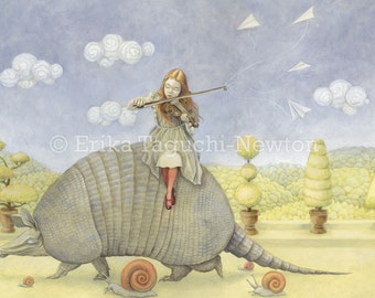 "Armadillo 12x16 Fine Art Print, Girl with Violin Painting, Fairy Tale Art, ""Armadillo Dream"" Limited Edition"