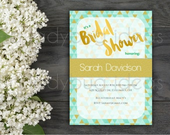 Golden Geometric Printable Bridal Shower Invitation, Triangle Digital Bridal Shower Invitation, Wedding Invitation