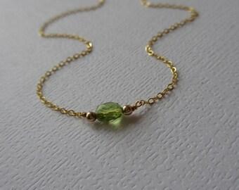 Peridot Necklace, Delicate Peridot necklace, August Birthstone necklace, Tiny Peridot necklace, Silver Peridot necklace, Layer Necklace
