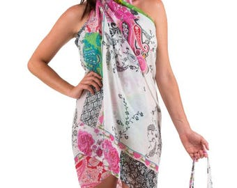 Spirituelle Cotton Beach Sarong with Matching Carry Bag - Mystic Garden