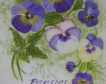 Pansies Sign Hand Painted Purple Pansies Wood Plaque Wall Decor Art