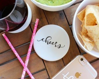 Cheers White Ceramic Coasters