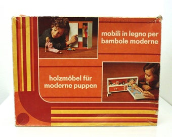 Vintage Frade Doll House Bedroomset in original box for dolls like Mini American Girl and Pippa of 28-30cm