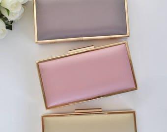CLASSIC satin clutch - Large box clutch - Choose your color