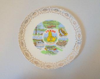 Vintage Idaho Souvenir Plate - Floyd Jones Vintage