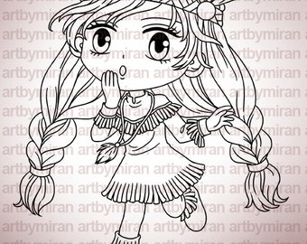 Digital Stamp - Little Indie (#248), Digi Stamp, Coloring page, Printable Line art for Card and Craft Supply